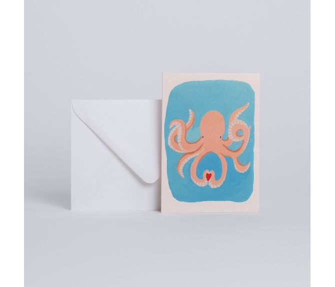 CARD OCTOPUS IN LOVE