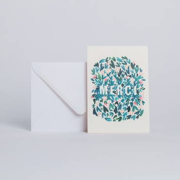 "CARD FEUILLAGES ""MERCI"""