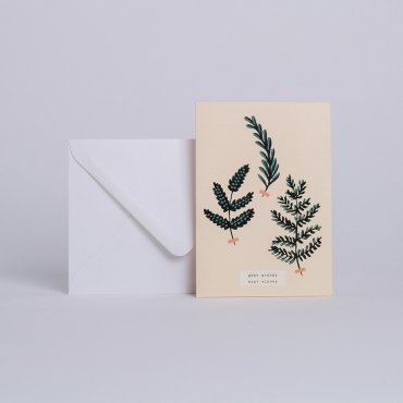 "CARTE HERBIER D'HIVER ""BEST WISHES"""