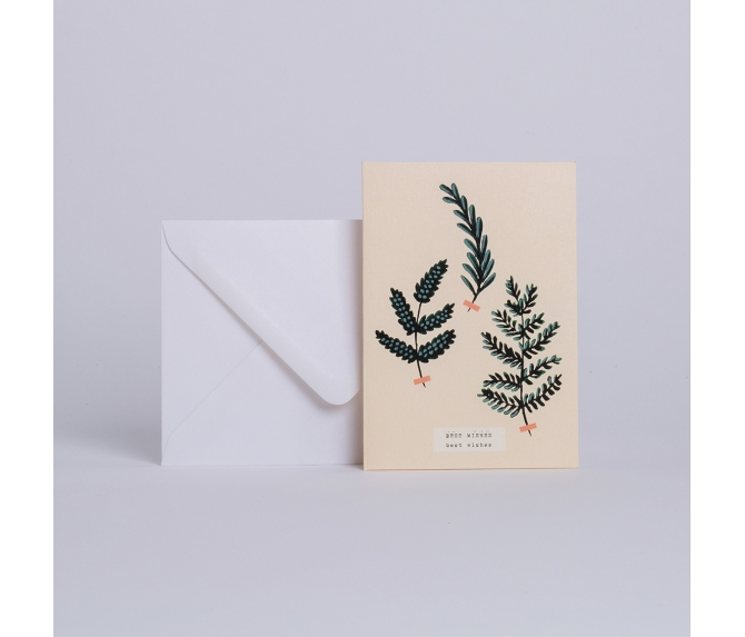 "CARD HERBIER D'HIVER ""BEST WISHES"""