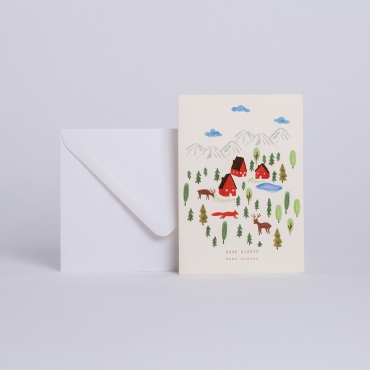 "CARD PETIT VILLAGE ""BEST WISHES"""