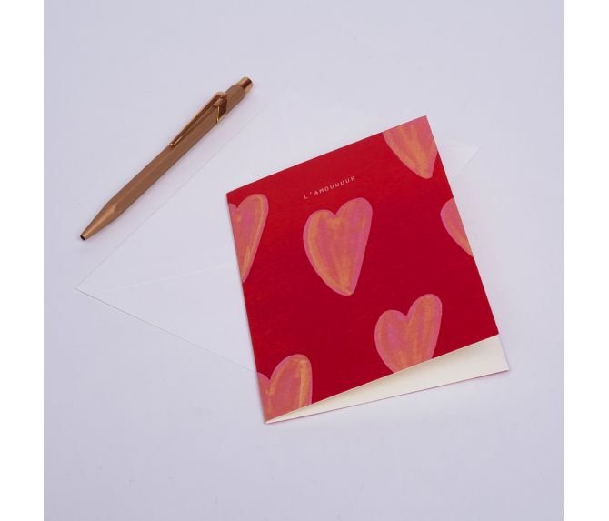 "CARD HEARTS ""L'AMOUUUUR"""
