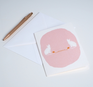 "CARD PETITS CHATS PINK ""BIENVENUE"""